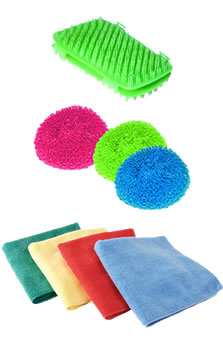 Микрофибра, пластиковые мочалки